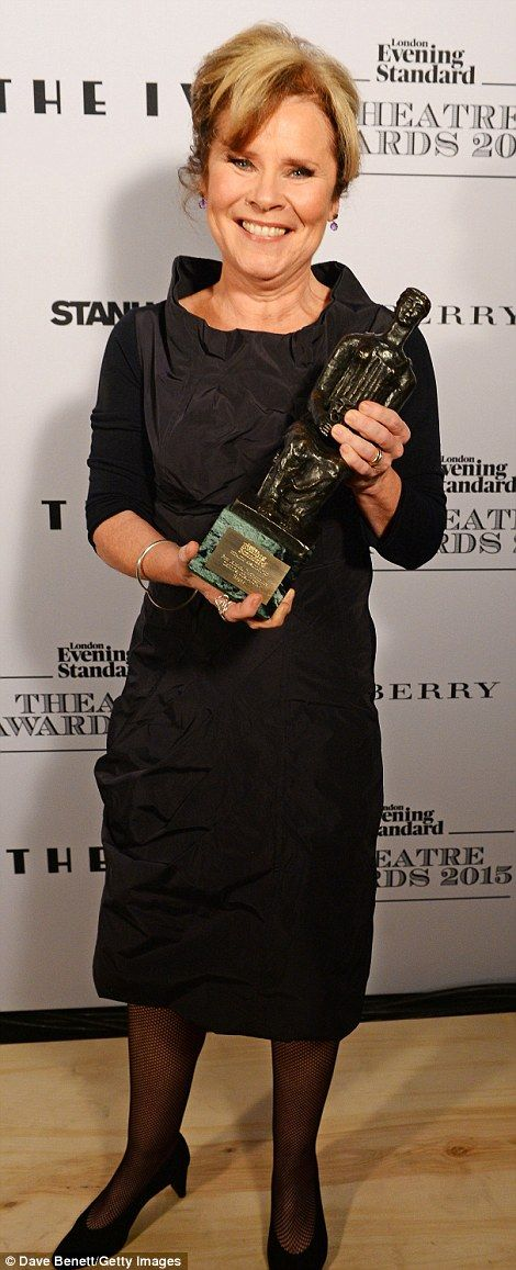 Imelda Staunton, who won best musical performance for her part as Mama Rose in the musical Gypsy, chose a black shift with an assymetric neckline and ruching