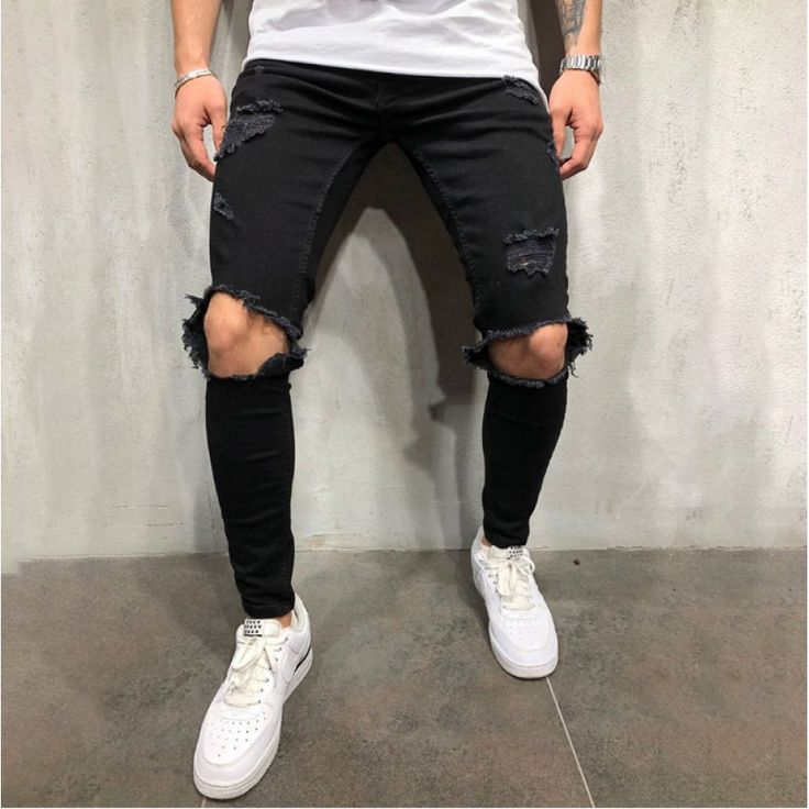 Ripped Jeans Style, Distressed Skinny Jeans, Men's Jeans, Moto Jeans, Skinny Guys, Skinny Fit, Black Skinnies, Black Jeans, Stylish Clothes