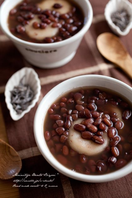 Japanese Zenzai, Sweet Azuki Bean Soup with Rice Cake ぜんざい