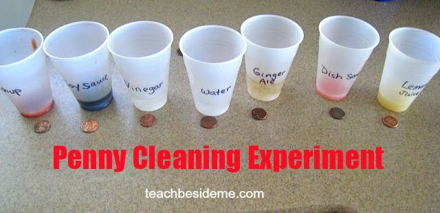 Experiment- cleaning pennies - Teach Beside Me--easy experiment to do with my kids
