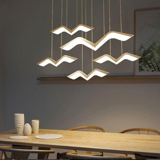 Moderne Led Kroonluchter Lustre Lamp Opknoping Verlichting Wit Hanglamp Afstandsbediening Keuken Eetkamer Kan Keuken Eetkamer Hangende Lichten Eetkamer Kantoor
