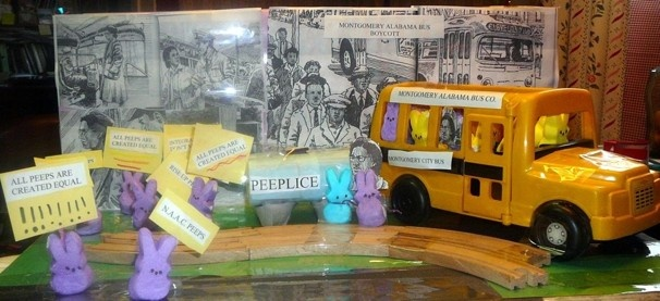 Lauren Hutchison, 9, and Caelan Rice, also 9, both of Hyattsville, built this diorama to honor Rosa Parks and her bus boycott as part of the Civil Rights movement. They had some help with research from Robert L. Harper but they read a book about Rosa Parks, organized the pictures and put Peeps in the bus. #PEEPS