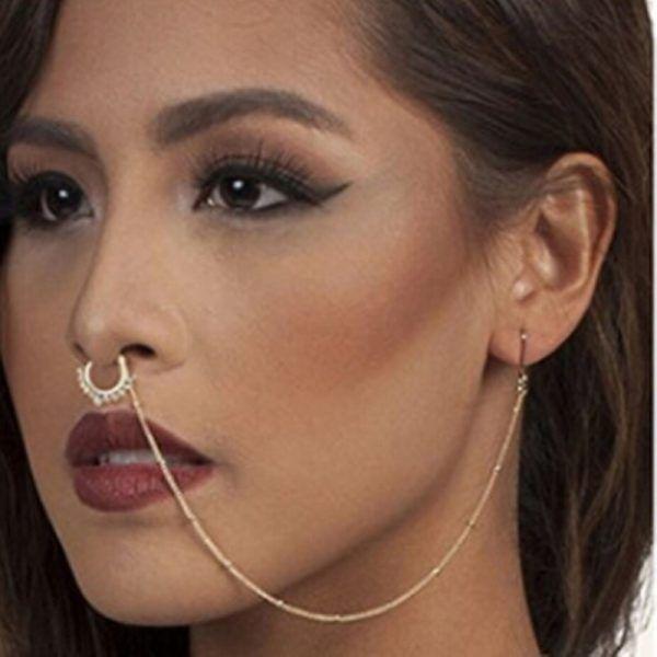 Black Ip Non Piercing Horseshoe Septum Hanger Clip On Fake Nose Ring