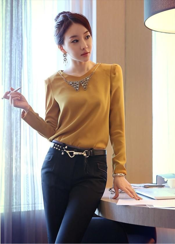 Yellow Retro Long Sleeves Korean Trendy Office Ladies Blouse  1