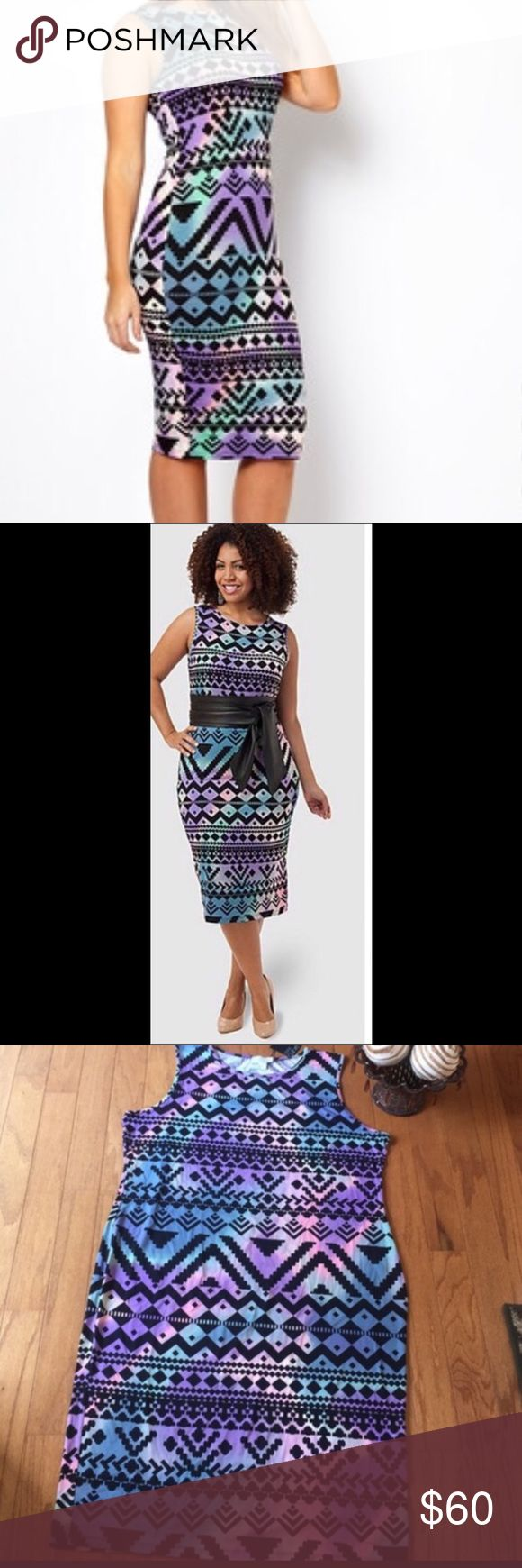 🔮🥂ASOS AZTEC PRINTED DRESS🥂🔮 Form fitting midi-length dress in all over Aztec print.  The daring Aztec print is softened by the warm pastel colors. Pair this bold dress with a tailored black blazer and pumps for a night out. Belt the dress to highlight your waist and break up the print and create an hourglass silhouette.    Belt not included 46 inches flat.  Fabric Viscose / Elastane ASOS Dresses Midi