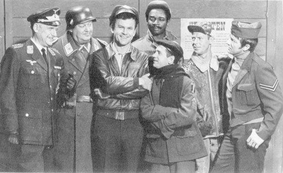 Cast of Hogan's Heroes (one of my fav. t.v shows)...Bob Crane, Richard Dawson, Werner Klemperer, etc...