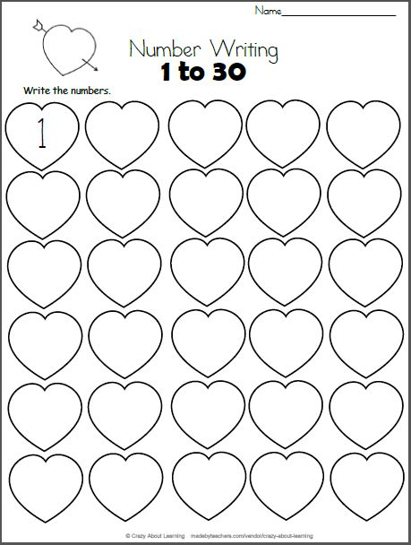 blank number chart 1-30 - Google Search | Math valentines ...