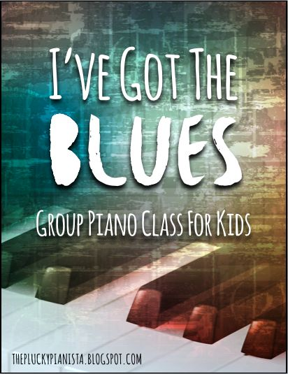 Blues group piano class for kids: listening, performing as an ensemble, learning the blues scale, playing along with a blues jam track, and more!