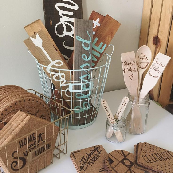 Good use of wire baskets spray painted colors that work with their products. Craft fair prop ideas