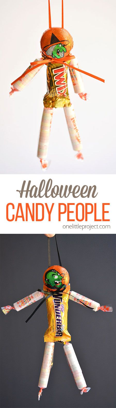 These Halloween candy people are such an ADORABLE and easy treat idea to send to…