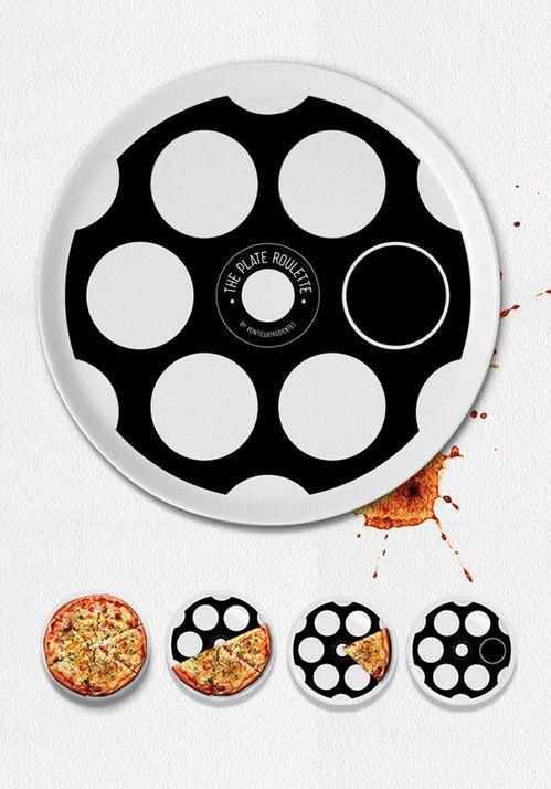 """Ever have trouble deciding who pays for pizza? Why bother divvying up the check based on what people ate or drank or even splitting the bill evenly? With this plate, the person who grabs a slice to reveal the black circle has to bite the bullet.  At just over 12 inches and with six """"bullet chambers,"""" it's clearly designed for smaller Neapolitan pies. 30€ from veinticuatrodientes.com."""