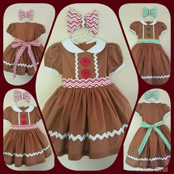 Gingerbread Cookie Dress with matching Headband and attached Petticoat; Girls Gingerbread Dress; Girls Christmas Dress