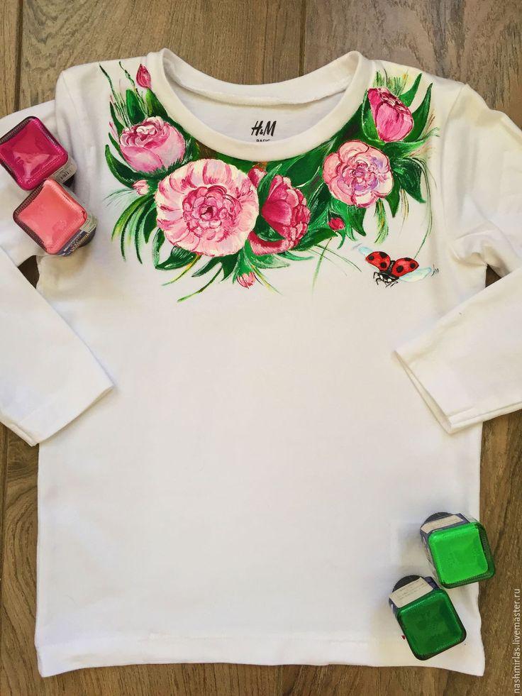 """Купить Детский лонгслив """"Цветы"""" - белый, роспись по ткани, роспись футболок, рисунок на ткани"""