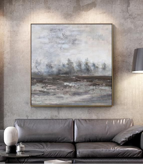 Black White Paintinglarge Abstract Painting Landscape Etsy Horizontal Wall Art Large Canvas Art Landscape Paintings