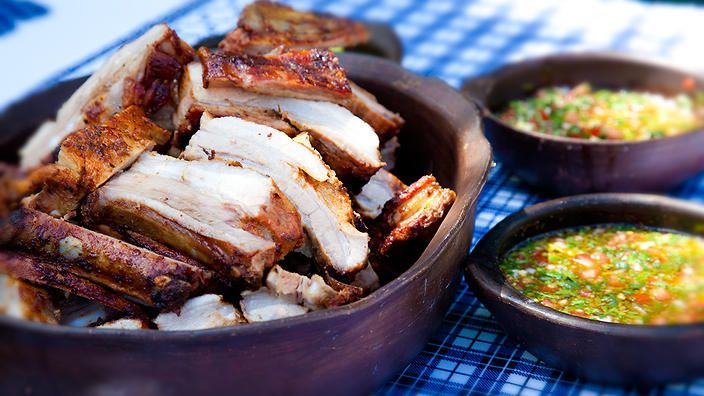 Marinated pork belly with Chilean salsa? Yes, yes we do. #FoodSafari #barbecue