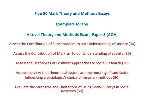 Theory And Methods Essays For The A Level Sociology Exams Essay Research Methods Essay Topics