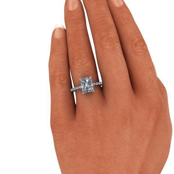 Forever Brilliant Moissanite and Diamond Radiant Cut Engagement Ring 2.98 CTW - Bel Viaggio Designs - 5