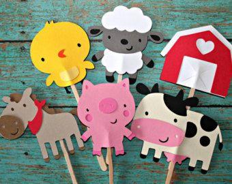 Animales Cupcake Toppers 24 granja animales de la por DiecutsGalore