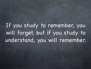 If you study to remember, you will forget, but if you study to understand, you will remember.
