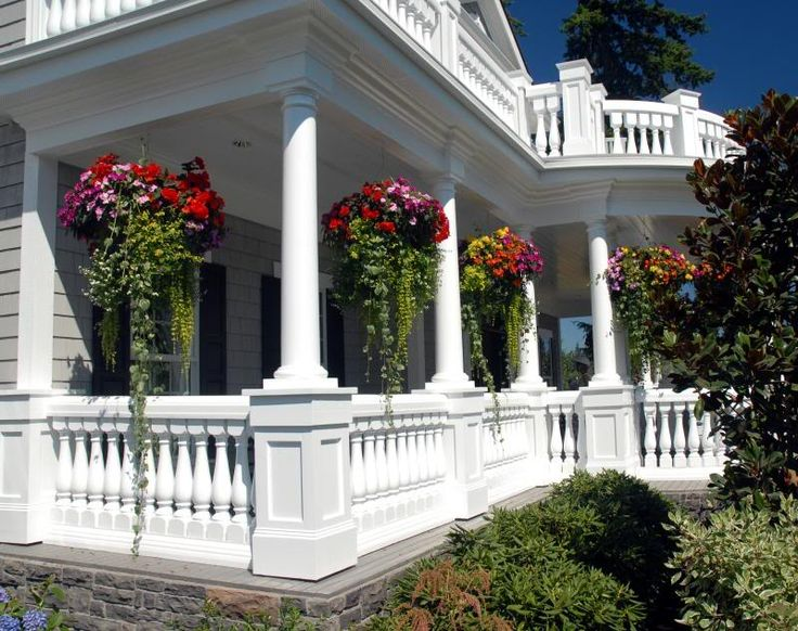Awesome Front Porch And Beautiful Hanging Baskets For The Home Pinterest Beautiful