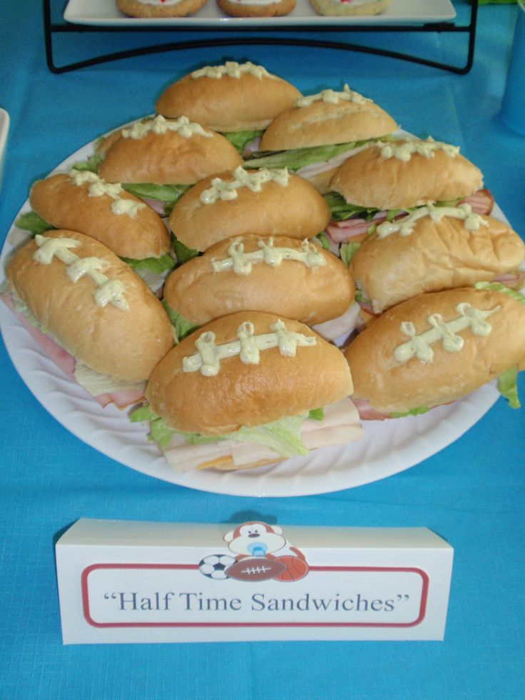 Football Sandwiches With pesto mayo for Allstar Baby Shower ~ made by Imagine That Creations & Events