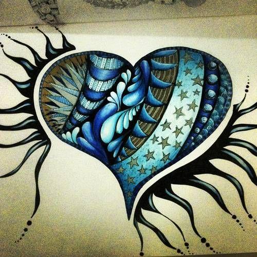 blue and black hart zentangle inspiration