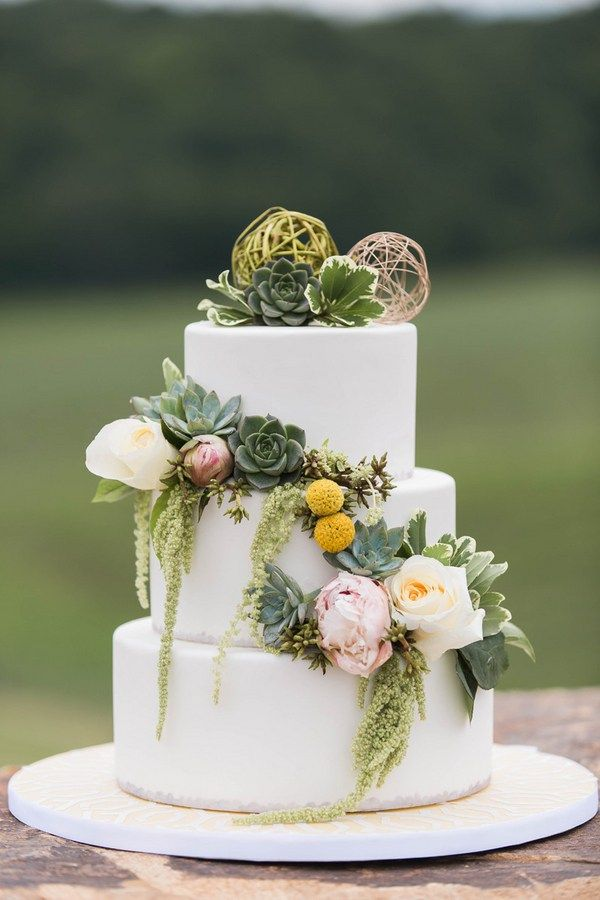 Three-tiered wedding cake with golden spheres, succulence and amaranths  Lush Green & Gold Wedding Inspiration at Blue Valley Vineyard and Winery  Photographer: Candice Adelle Photography