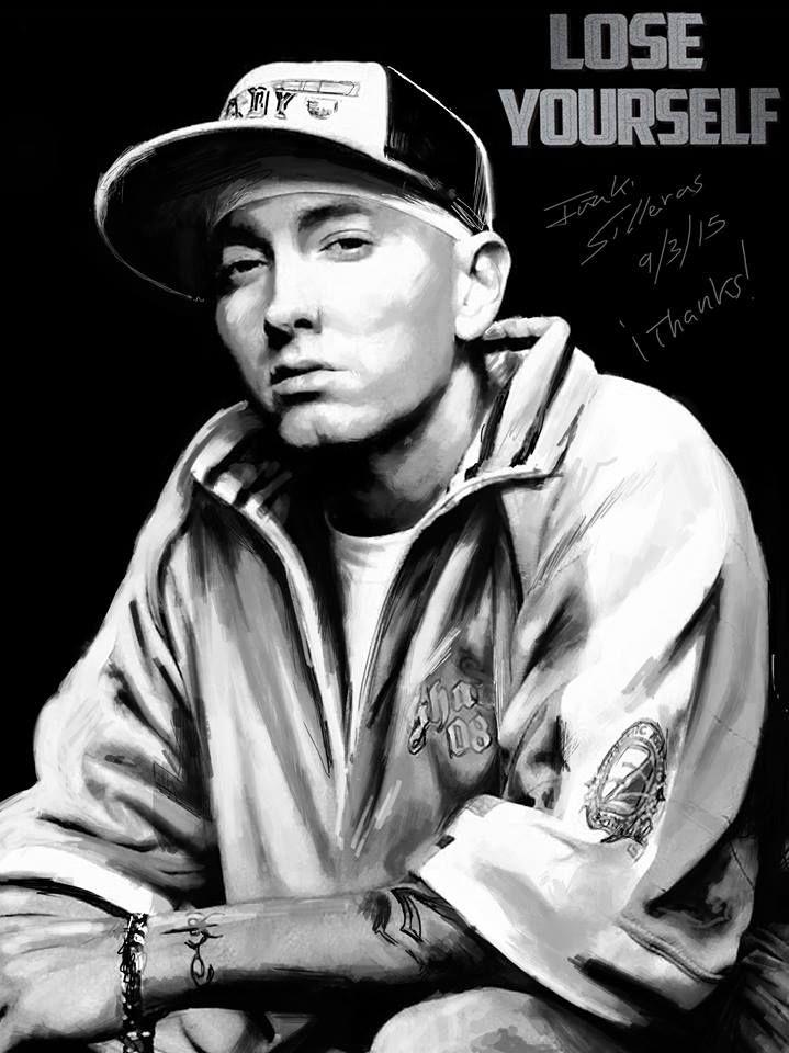 Retrato de Eminem la persona que con sus letras me a enseñado a que jamas debes rendirte por muy fuerte que te golpeen. Y que los sueños se pueden cumplir siempre que te entregues en cuerpo y alma!
