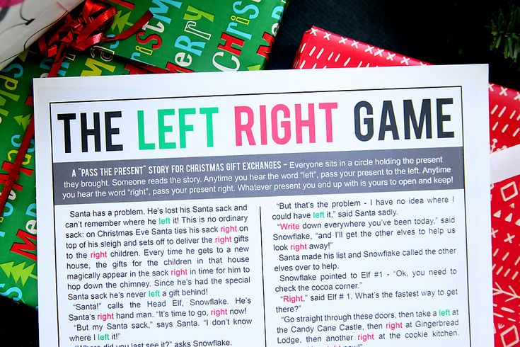 the Christmas left right game (w/printable story ...