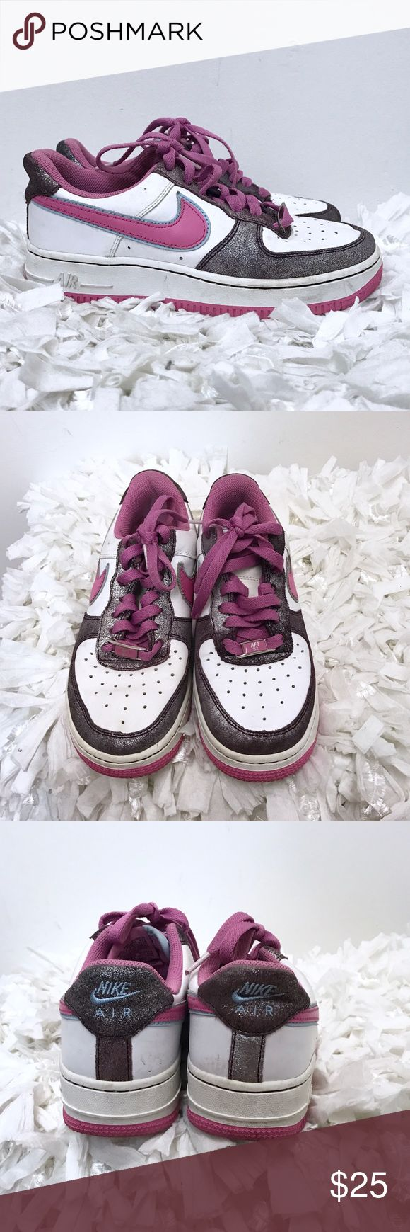 Nike Air Force 1 sneakers Woman's Sz 6 white pink Nike sneakers. Good condition. Some normal wear, nothing major. Clean. Sz 6. Nike Shoes Sneakers