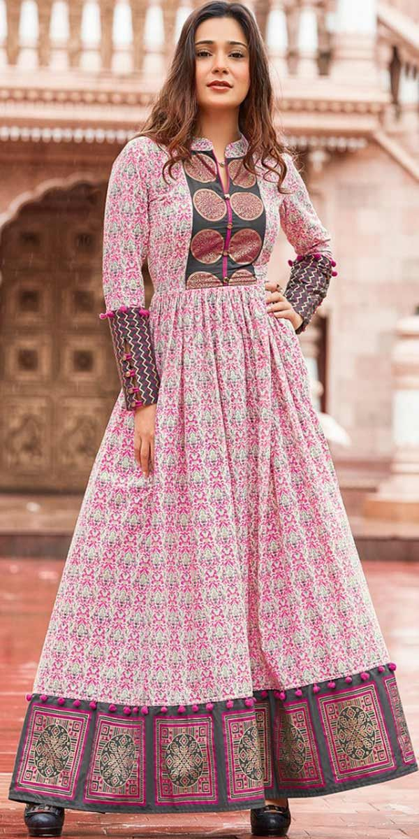 feb630b48 Georgeous Pink Lawn Cotton Jaipuri Kurti.