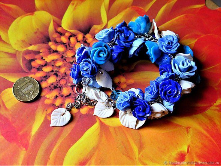 Купить Браслет Голубые розы в интернет магазине на Ярмарке Мастеров
