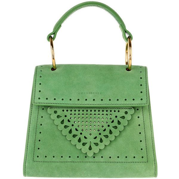Coccinelle Shoulder Bag - Lace Handle Bag Vert - in green - Shoulder... ($370) ❤ liked on Polyvore featuring bags, handbags, shoulder bags, green, green shoulder bag, man bag, green handbags, top handle handbags and handbags shoulder bags