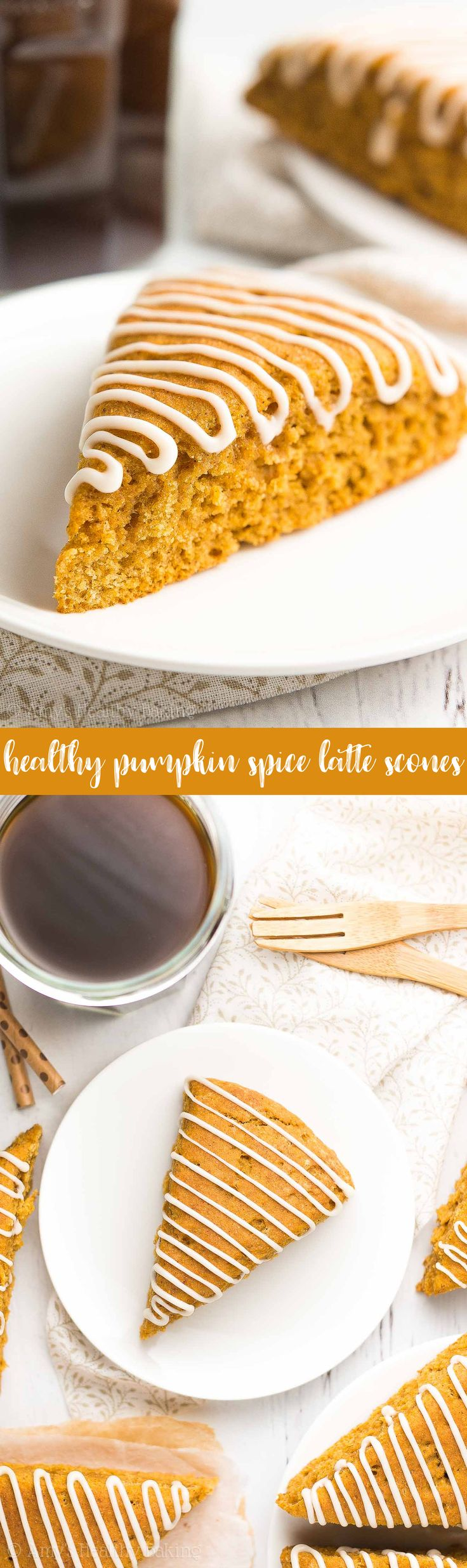 {HEALTHY!} Pumpkin Spice Latte Scones -- only 130 calories & ready in 30 minutes! They taste just like a Starbucks PSL! SO GOOD!! #recipe (Autumn Baking Recipes)