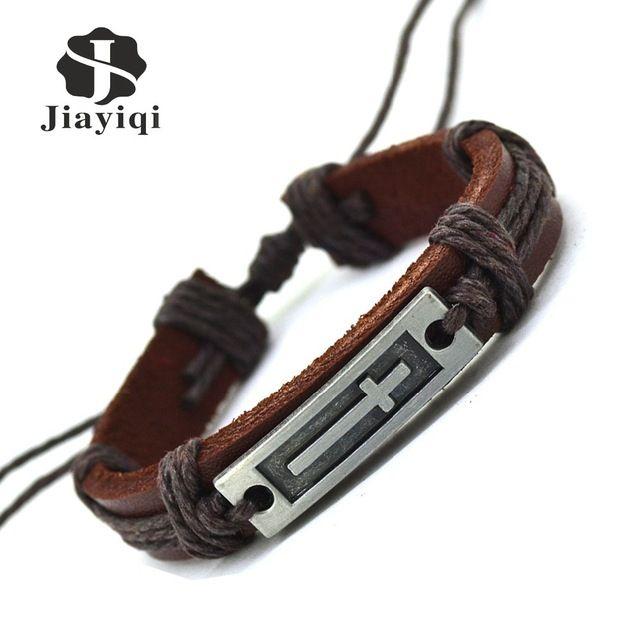 Jiayiqi Nieuwe Handgemaakte Lederen Armband Charm Cross Manchet Armbanden Armbanden Voor Vrouwen Mannen Sieraden