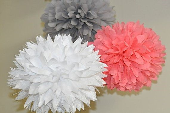 9 Assorted Poms White Gray and Coral Bridal Shower by PomVillage