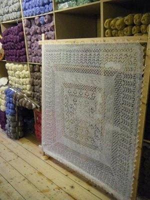 Shetland shawl at  the Wool Store at Jamieson & Smith Shetland Wool Brokers