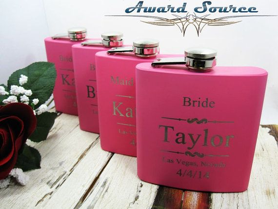 Pink Bridesmaid Flask With Free Engraving by AwardSourceLLC, $10.50