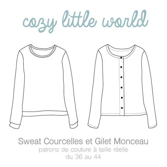 Image of Patron PDF - Gilet Monceau / Sweat Courcelles