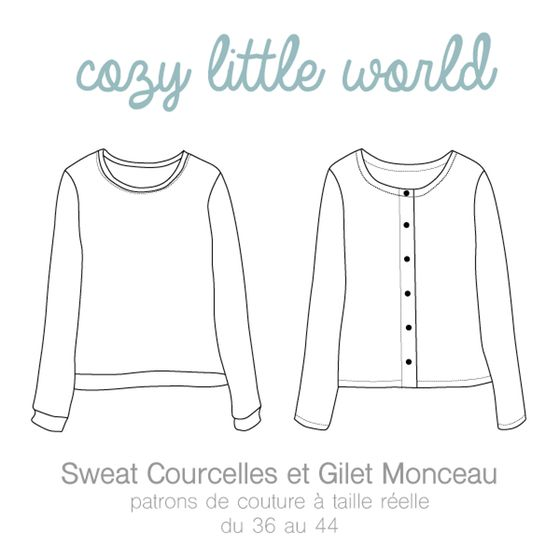 Image of Patron PDF - Gilet Monceau / Sweat Courcelles