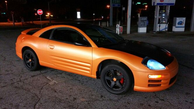 2002 Mitsubishi eclipse plastidip team orange pearl halo plasti dip