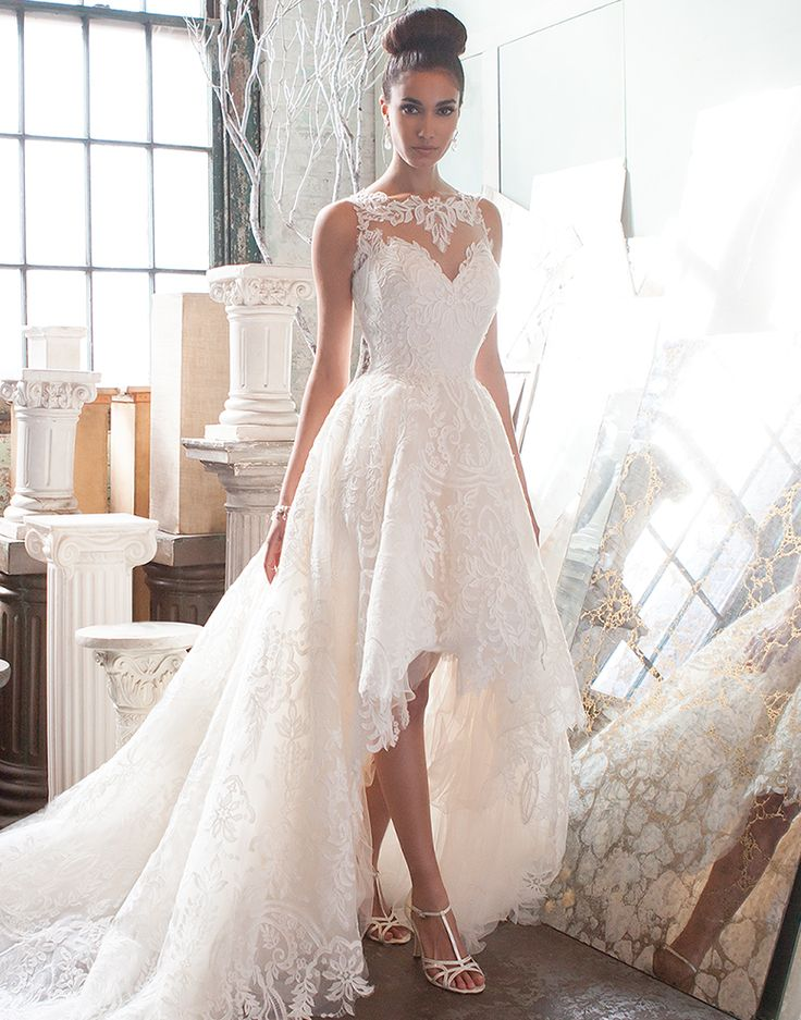 Elegant high-low wedding dress by Justin Alexander Signature.