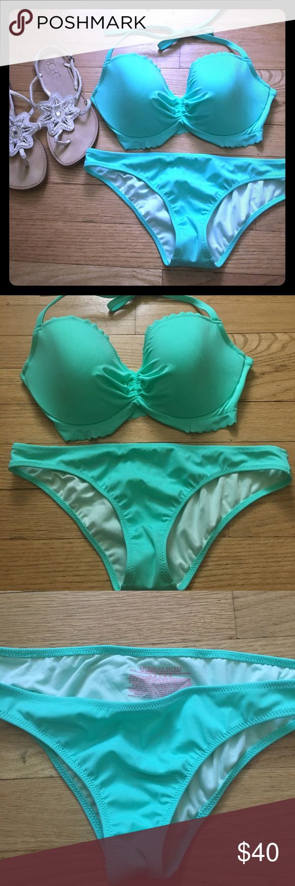 NWOT Victoria Secret mint bikini 👙 NWOT Victoria Secret mint bikini .  Getaway Halter top w/ three fits for perfect fit .  32dd Bottoms the cheeky in matching mint color to top- small. Never been worn! Victoria's Secret Swim Bikinis