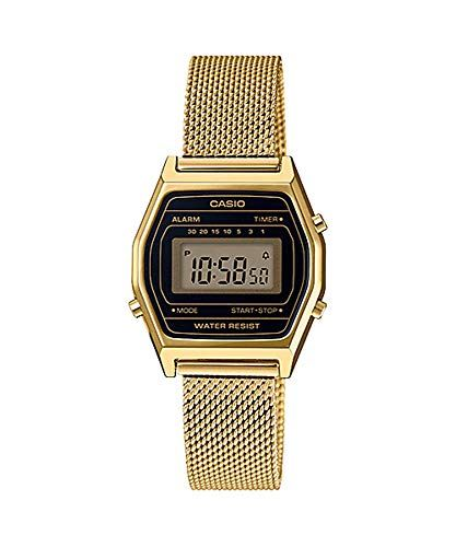 17c670ee1fe Casio LA690WEMY-1 Women s Vintage Youth Gold Tone Mesh Band Alarm  Chronograph Digital Watch
