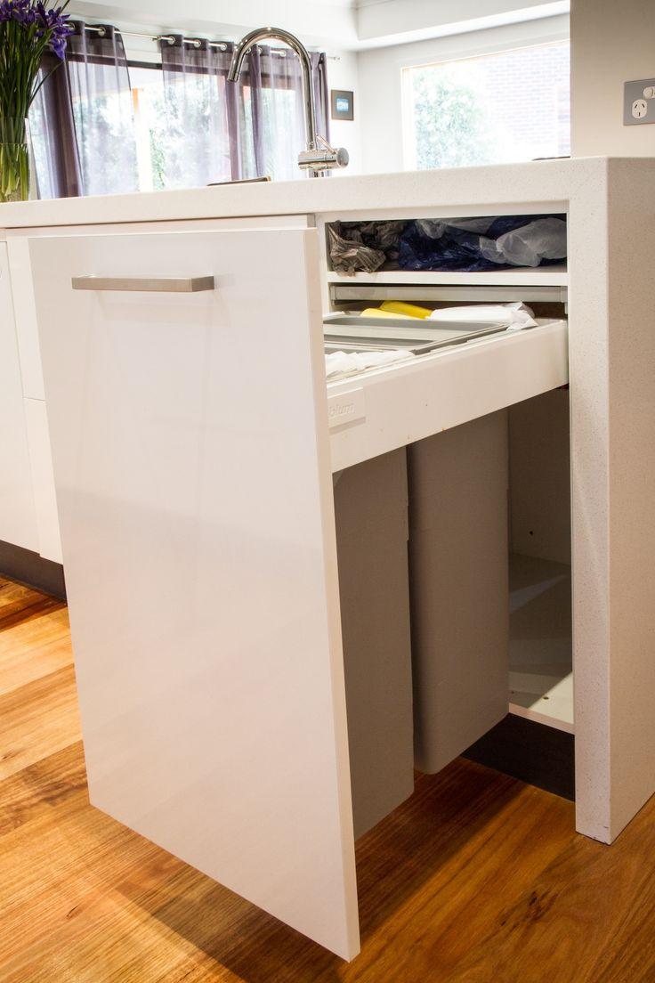 White modern kitchen. Bin drawer. www.thekitchendesigncentre.com.au