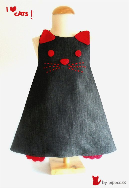 Cat dress 2 4 years jeans cat dress spanish by pipocass on Etsy
