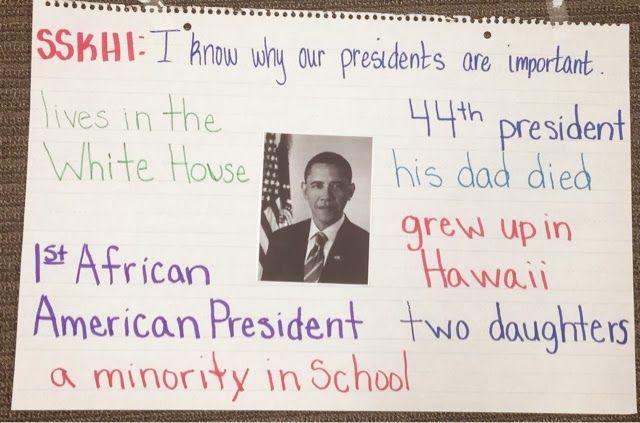 Barack Obama anchor chart and writing for Kindergarten