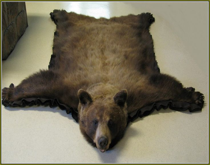 Faux Bear Skin Rug With Head