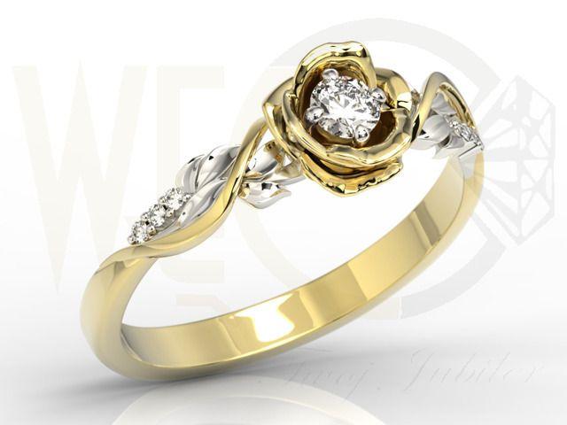 Złoty pierścionek w kształcie róży z białym szafirem i brylantami / Gold ring with diamonds and sapphire /1414 PLN / #yellowgold #diamonds #ring #sapphire #pretty #pierscionek #diamenty #szafir #brylanty