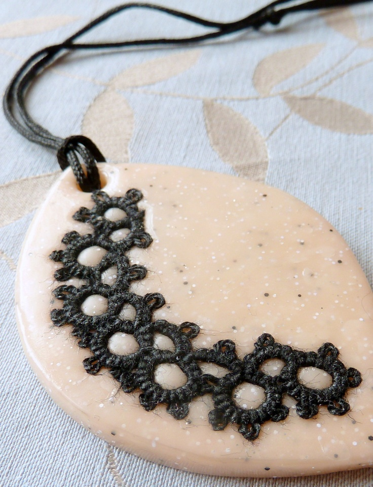Tatted pendant, Lace black cream pendant black beige lace crochet charm lace jewelry tatting black on polymer clay